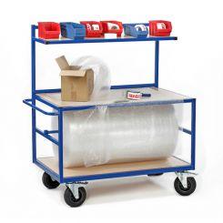 Servante d'emballage avec dérouleur, 2 plateaux et 1 étagère