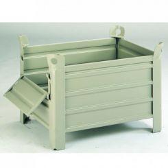 Palette conteneur tole | 800 x 600 mm | avec demi-porte rabattable