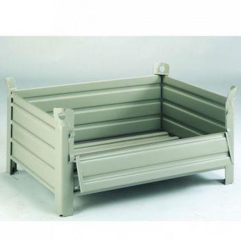Palette conteneur tole | 1200 x 800 mm | avec demi-porte rabattable