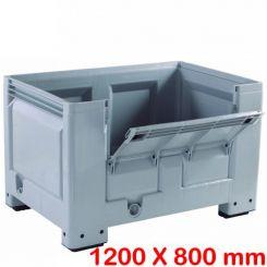 Caisse palette big box | 1200 x 800 mm | avec demi porte rabattable
