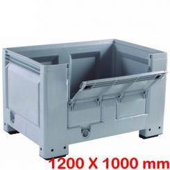 Caisse palette plastique big box 1200 x 1000 mm avec demi porte rabattable