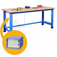 Etabli d'atelier avec bloc 3 tiroirs