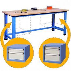 Etabli d'atelier avec 2 blocs tiroirs