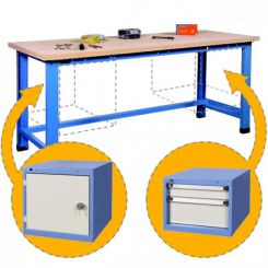 Etabli d'atelier charges lourdes avec bloc tiroirs et porte