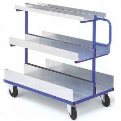 Chariot à étagères tôlées charges longues et volumineuses