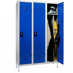 Vestiaire metallique monobloc   industrie salissante   3 cases sur pieds