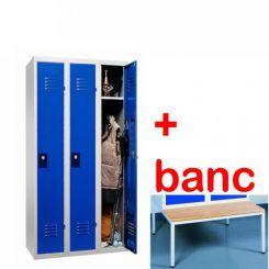 Vestiaire industrie propre monobloc 3 cases avec banc
