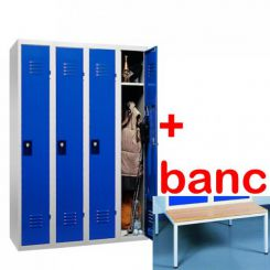 Vestiaire industrie propre monobloc 4 cases avec banc