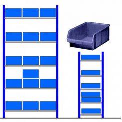 Rayonnage d'atelier avec bacs éco Bleu