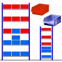 Rayonnage d'atelier avec bacs éco Bleu - Rouge