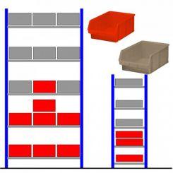 Rayonnage d'atelier avec bacs éco Rouge - Gris