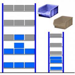 Rayonnage d'atelier avec bacs éco Bleu - Gris