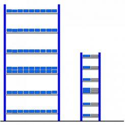 Rayonnage avec bacs éco Bleu - Gris