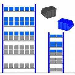 Rayonnage métallique avec bacs éco Bleu - Gris