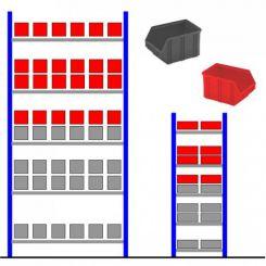 Rayonnage métallique avec bacs éco Rouge - Gris