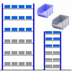 Rayonnage atelier avec bacs éco Bleu - Gris