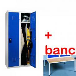 Vestiaire industrie salissante monobloc 2 cases avec banc