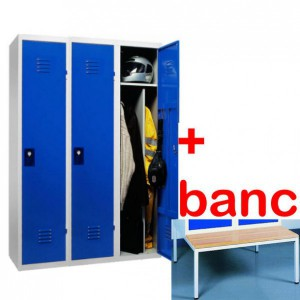Vestiaire industrie salissante monobloc 3 cases avec banc