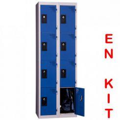 Vestiaire multicases | 8 cases | 2 colonnes | de 300 mm
