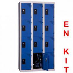 Vestiaire multicases   12 cases   3 colonnes   de 300 mm