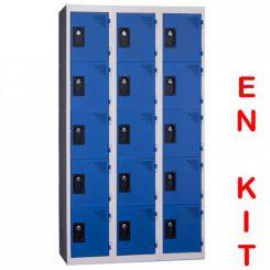 Vestiaire multicases | 15 cases | 3 colonnes | de 300 mm