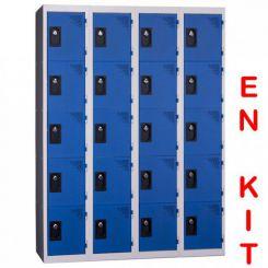 Vestiaire multicases | 20 cases | 4 colonnes | de 300 mm