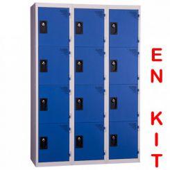 Vestiaire multicases | 12 cases | 3 colonnes | de 400 mm