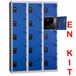 Vestiaire multicases | 15 cases | 3 colonnes | de 400 mm