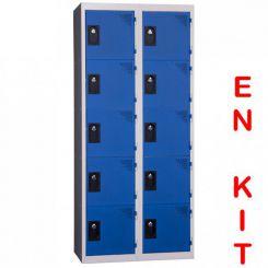 Vestiaire multicases | 10 cases | 2 colonnes | de 400 mm
