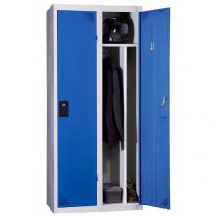 Vestiaire industrie salissante démontable bleu 2 cases