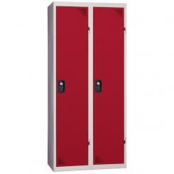 Vestiaire industrie salissante démontable rouge 2 cases