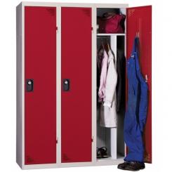 Vestiaire industrie salissante démontable rouge 3 cases