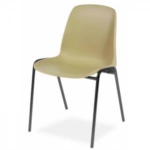 Chaise coque pieds métal noir