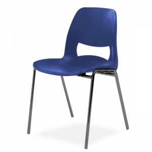 Chaise coque design pieds noirs - Anti-feu Classe M2