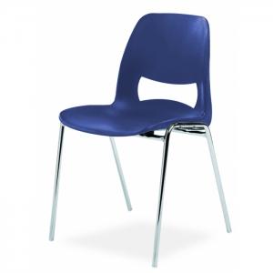 Chaise coque design pieds chromés - Anti-feu Classe M2