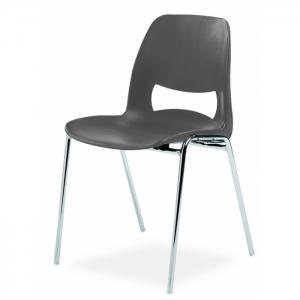 Chaise coque design accrochable pieds chromés