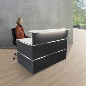 Banque d'accueil modulaire DESIGN - Laqué blanc/anthracite