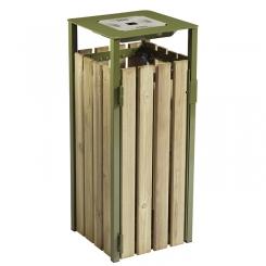 Corbeille carrée EDEN 110 litres avec cendrier