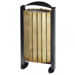 Poubelle façade bois sur pied 60 litres