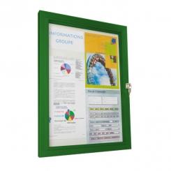 Vitrine d'extérieur classique verre trempé - cadre vert
