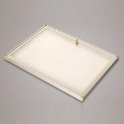 Vitrine d'intérieur fond tôle | coins plastique | vitre plexiglas | 9 feuilles