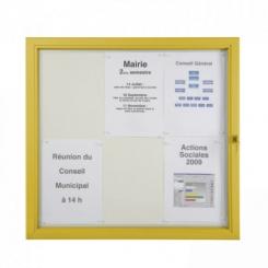 Vitrine d'extérieur plate vitre plexiglas - Cadre jaune