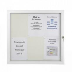 Vitrine d'extérieur plate vitre plexiglas - Cadre blanc
