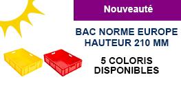 Bac norme europe couleurs hauteur 210 mm