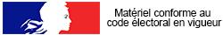 Ce produit est conforme au code électoral en vigueur en France