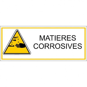 Pictogramme danger et avertissement - matières corrosives