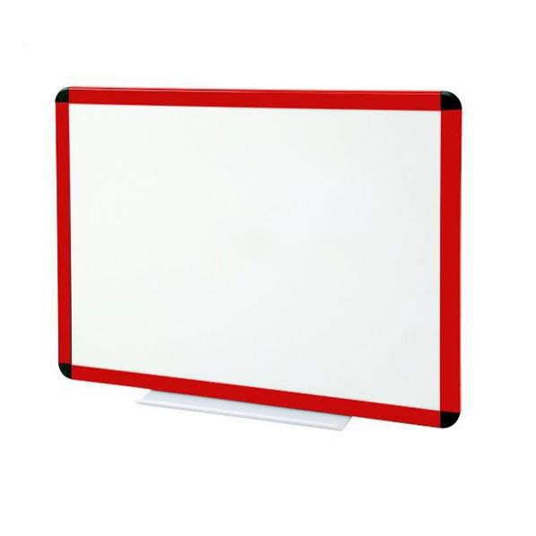 Tableau blanc émaillé cadre rouge - hauteur 1000 mm