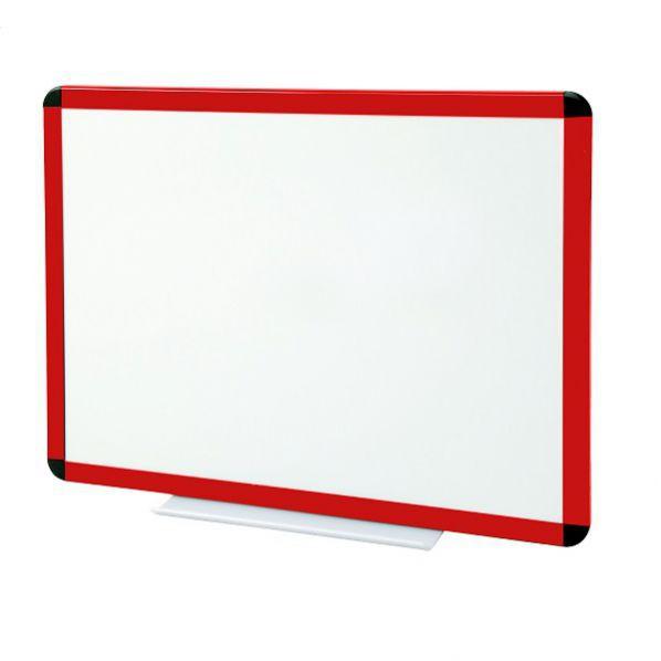 Tableau blanc laqué cadre rouge