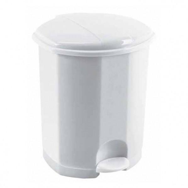 Poubelle plastique blanche à pédale