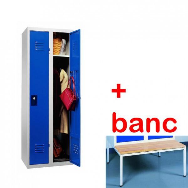 Vestiaire industrie propre monobloc 2 cases avec banc